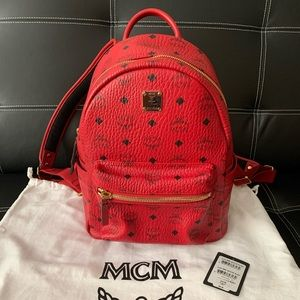 Authentic MCM Small Ruby Red Leather Backpack NWT